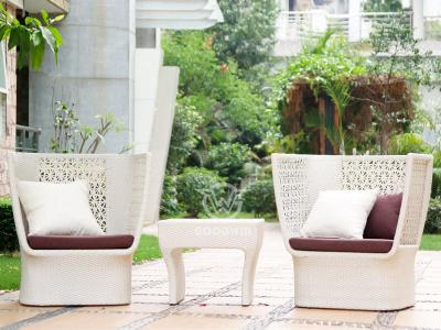 White Rattan Leisure Chairs Set